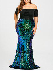 Plus Size Sequined Maxi Mermaid Dress - Green - 3xl