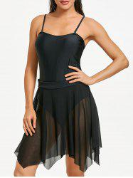 Mesh One Piece Skirted Swimsuit -