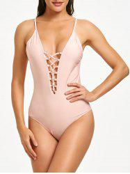 Lace-up Backless One Piece Swimsuit -