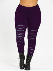 Plus Size Ripped Galaxy Leggings - Deep Purple - Xl