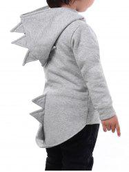 High-low Hem Boys Dinosaur Zip Hoodie -