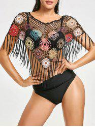 Crochet Bead Fringed Cover Up -