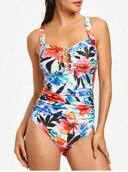 Flower Print Ruched One Piece Swimsuit -