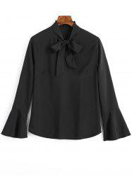 Slit Bell Sleeve Bow Tie Blouse -