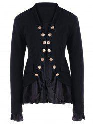 Chiffon Trimmed Buttons Jacket -