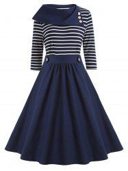 High Waist Vintage Striped A Line Dress -
