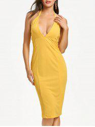 Cut Out Plunging Neckline Bodycon Dress -