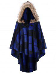 Plus Size High Low Plaid Hooded Cloak -