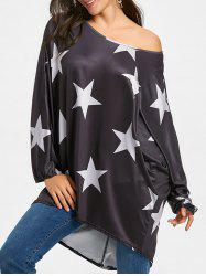 High Low Star Print Oversized Tunic T-shirt -