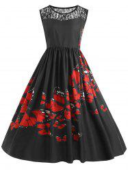 Lace Insert Plus Size Butterfly Print Midi 1950s Dress -