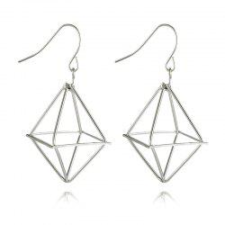 Geometric Metal Drop Earrings -