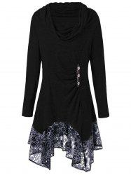 Plus Size Floral Cowl Neck Longline Top -