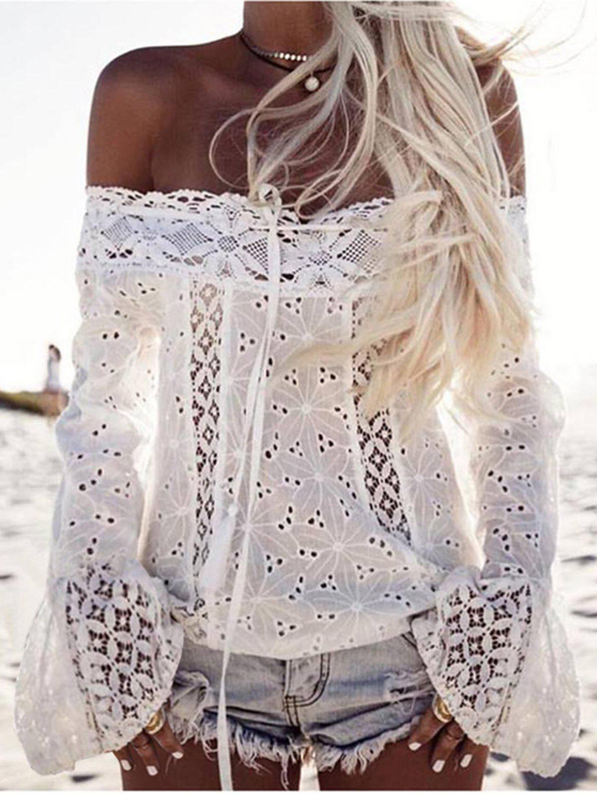 Online Off Shoulder Openwork Lace Blouse