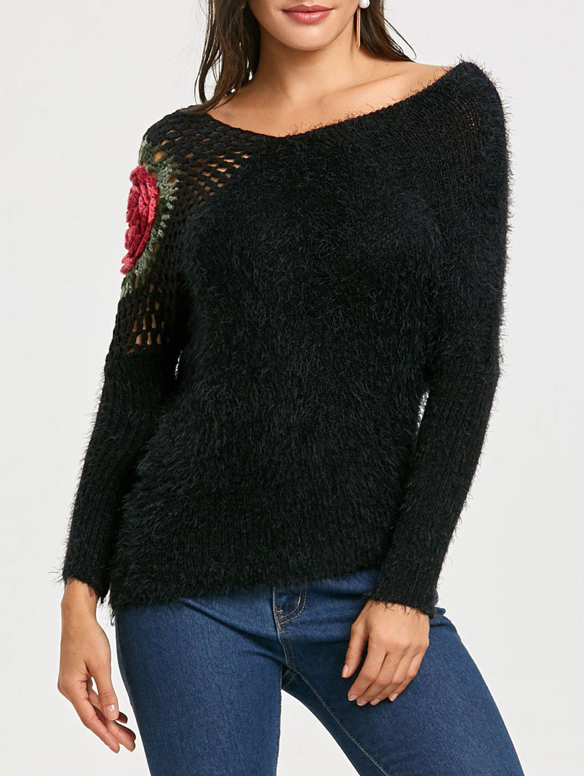 Discount Hollow Out Embroidered Sweater