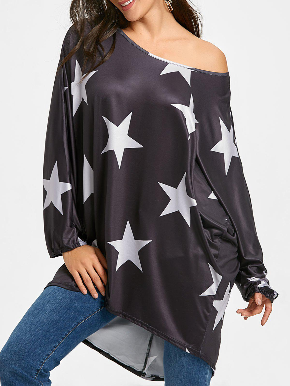Outfits High Low Star Print Oversized Tunic T-shirt