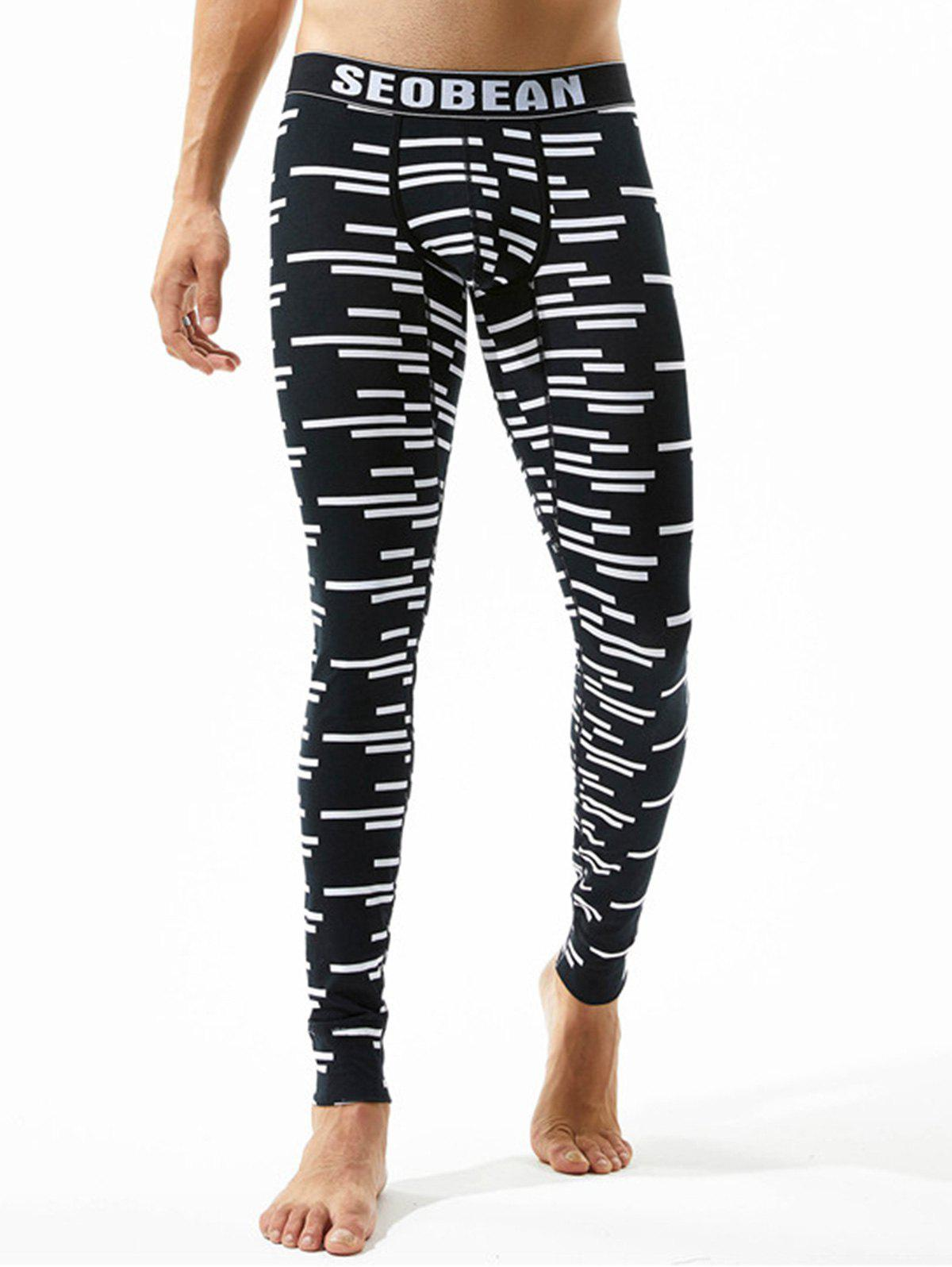Fashion Graphic Stripe Print U Pouch Gym Pants