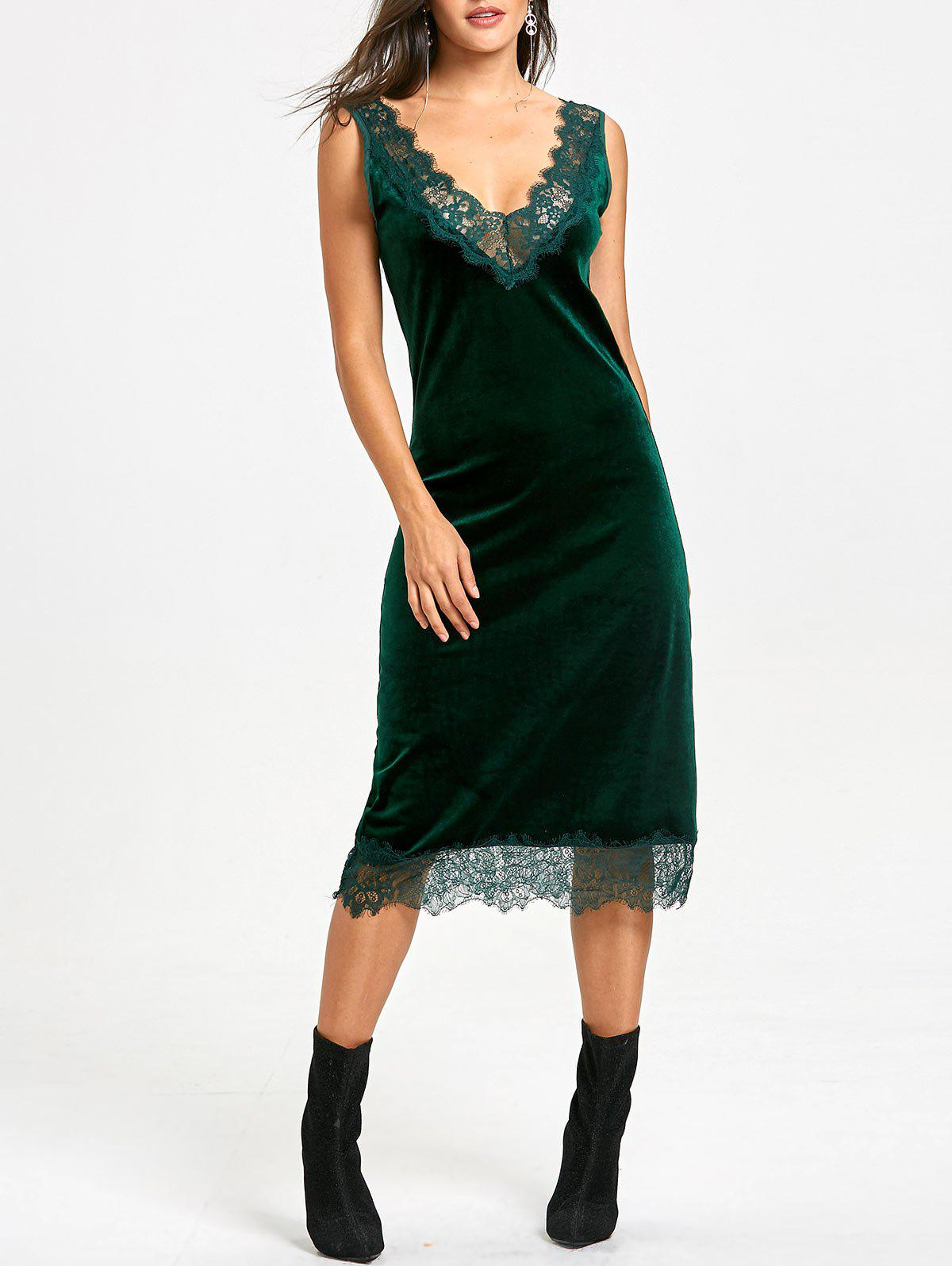 Fashion Velvet Lace Trim Plunging Dress