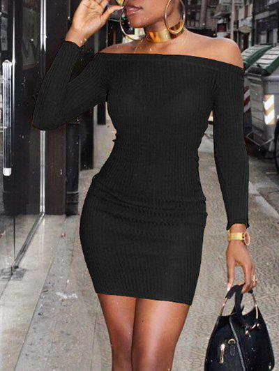 New Off The Shoulder Ribbed Bodycon Sweater Dress