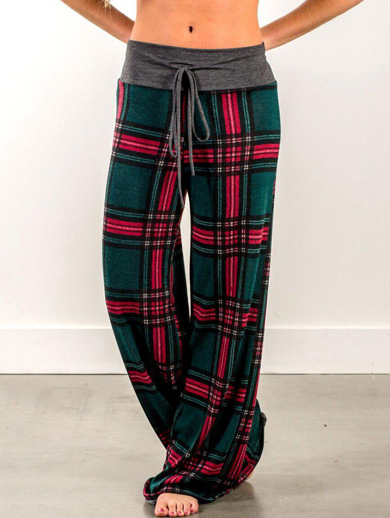 Discount Drawstring Waist Plaid Pants