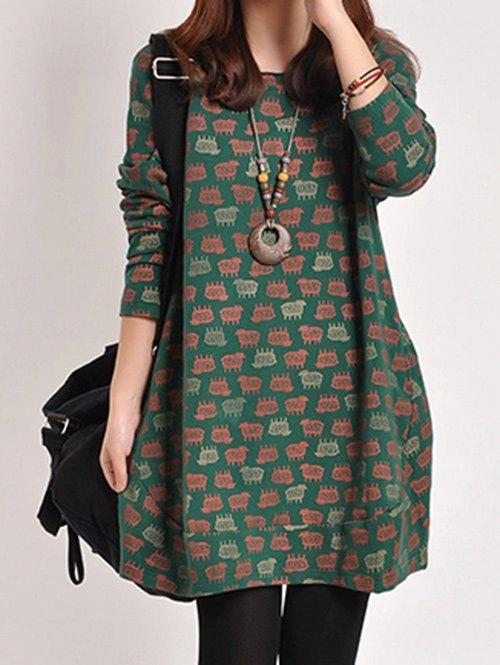 Affordable Round Neck Animal Printed Dress