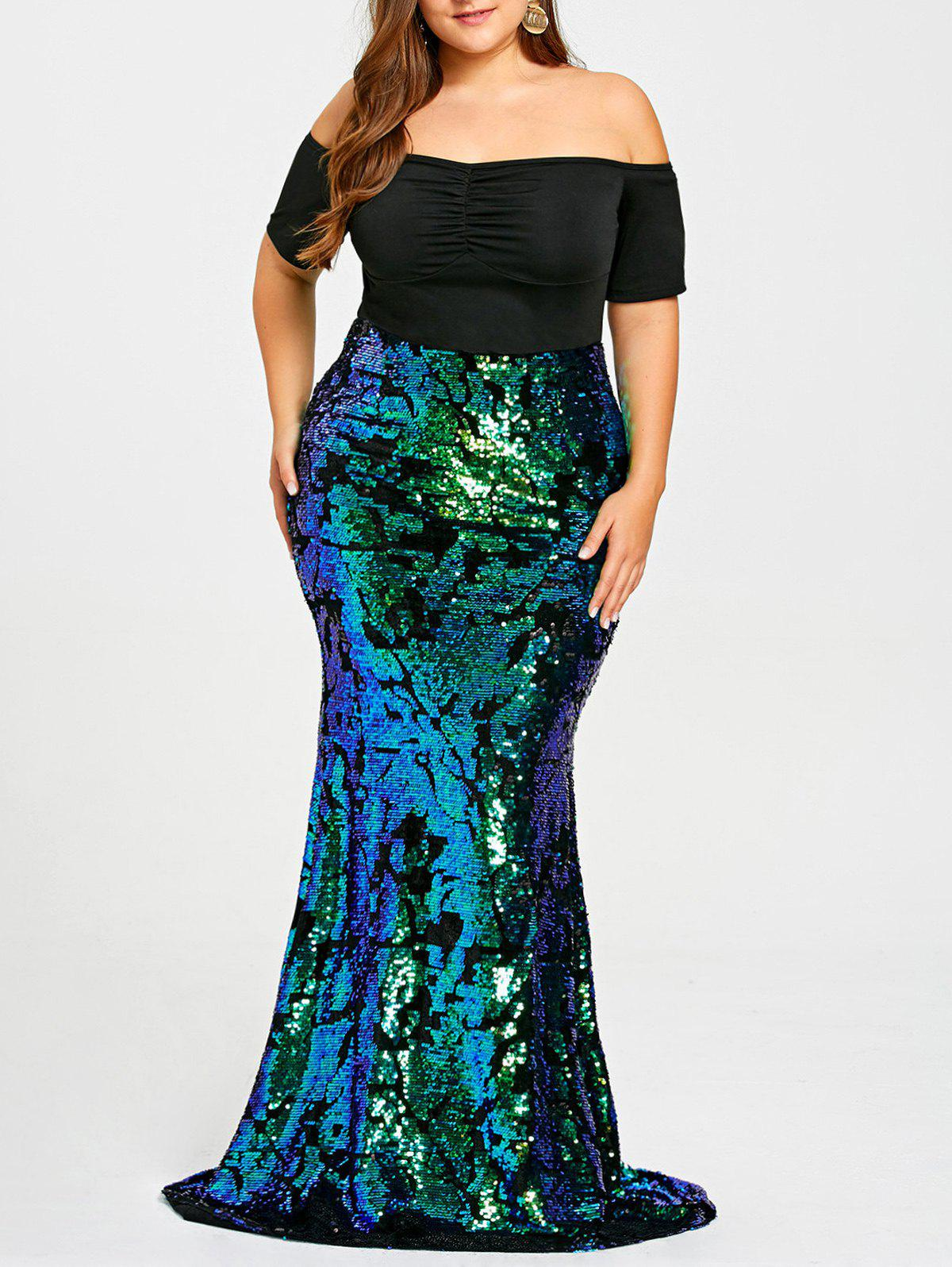 2018 Plus Size Sequined Maxi Mermaid Dress In Green 5xl | Rosegal.com