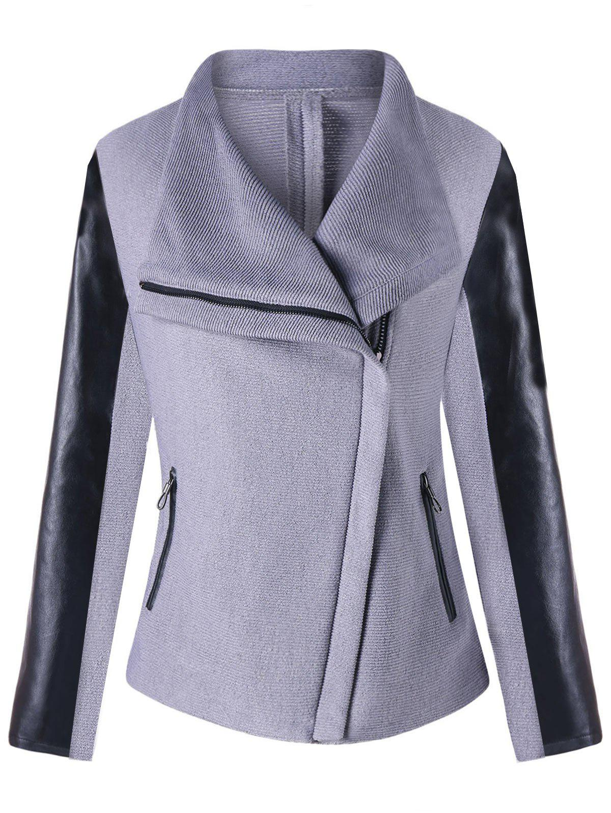 Trendy PU Leather Panel Turndown Collar Zipped Jacket
