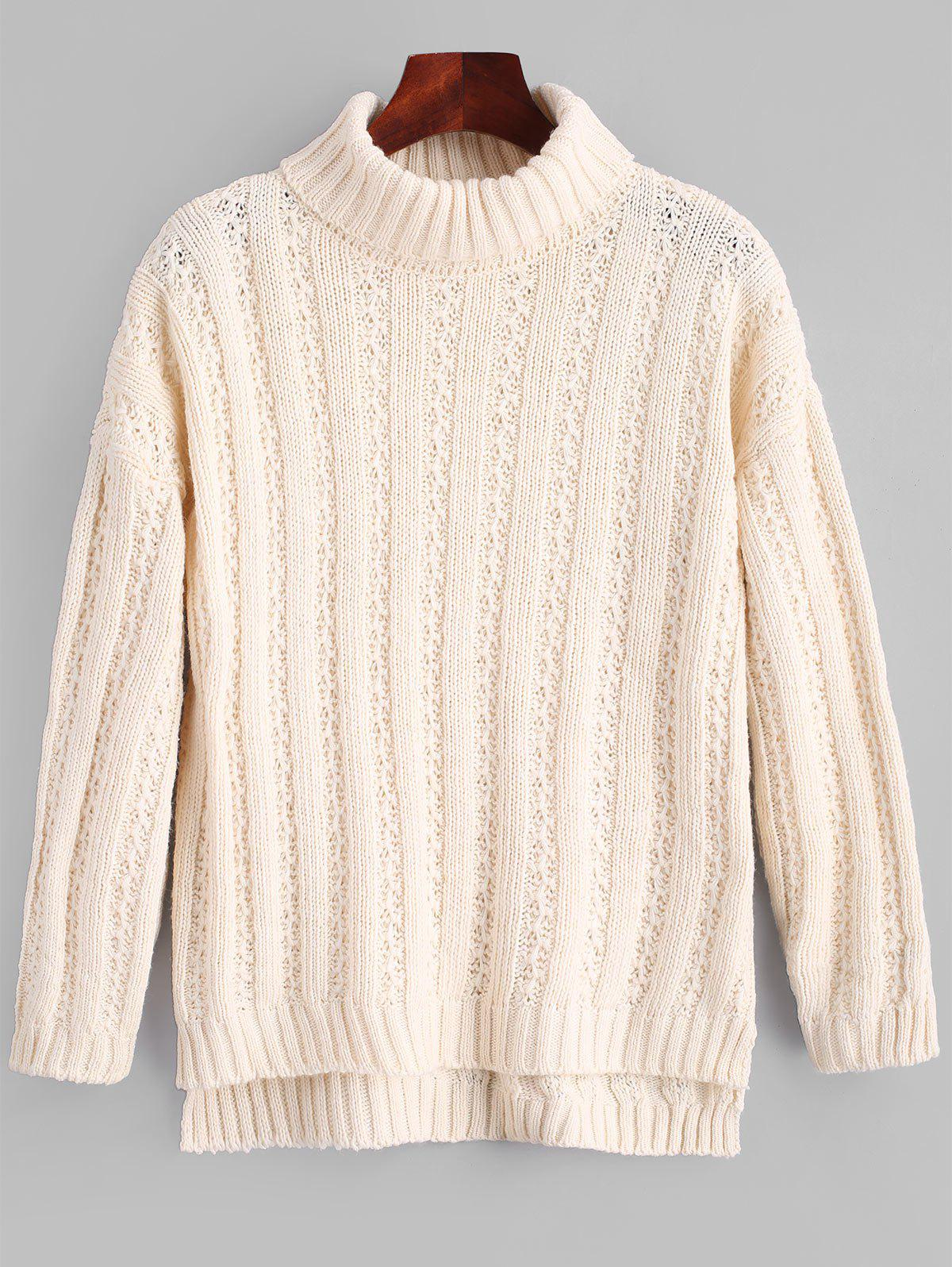 Unique Side Slit Turtleneck Chunky Sweater