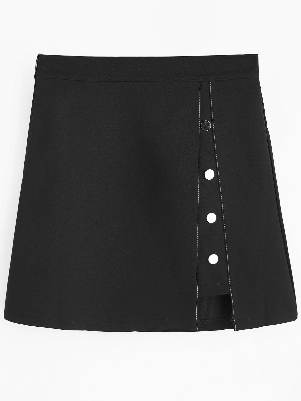 Outfit Cut Out Button Embellished Mini Skirt