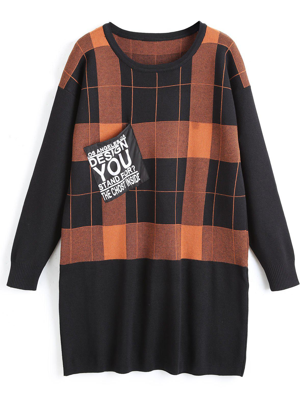 Unique Plus Size Plaid Tunic Sweater with FrontPocket