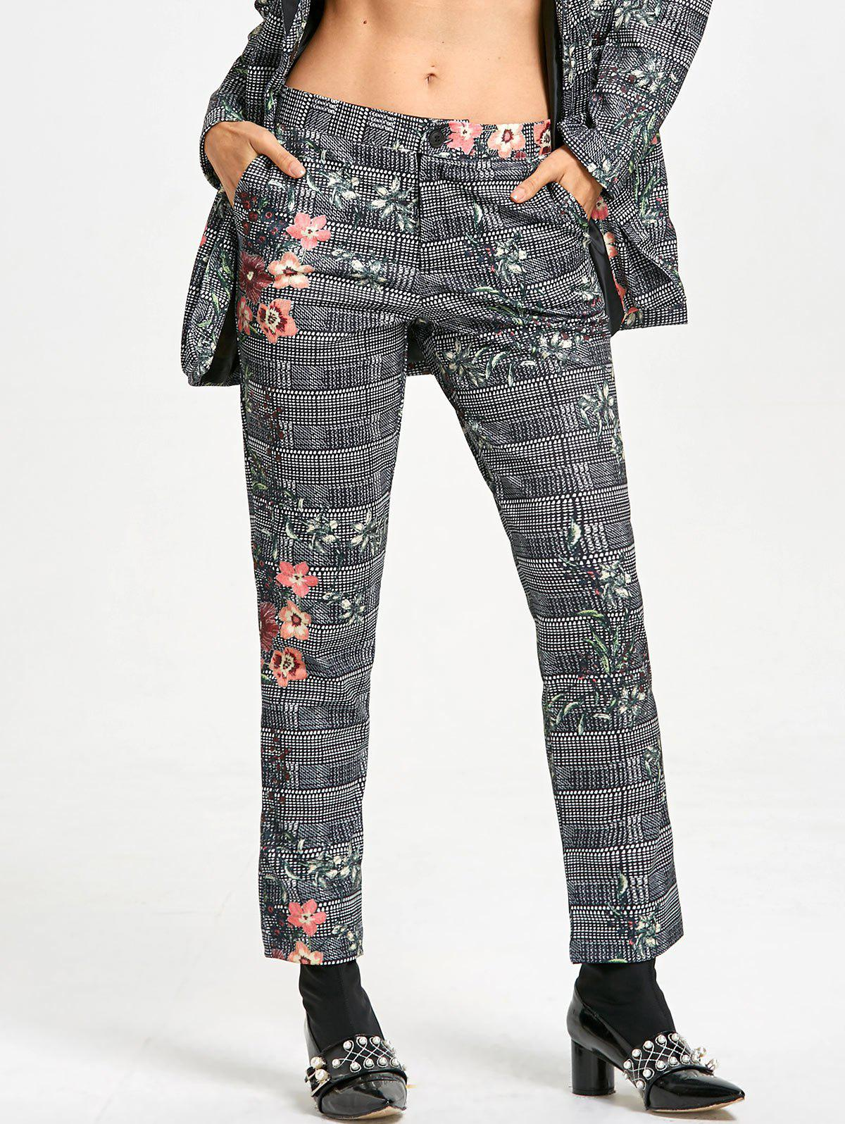Outfits Flower Plaid Print Zipper Fly Pants
