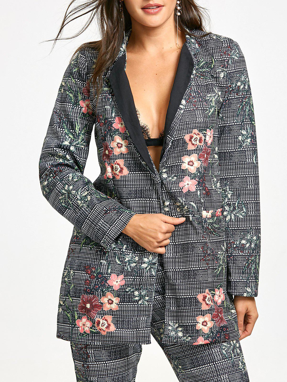 Fancy Flower Plaid Print Lapel Coat