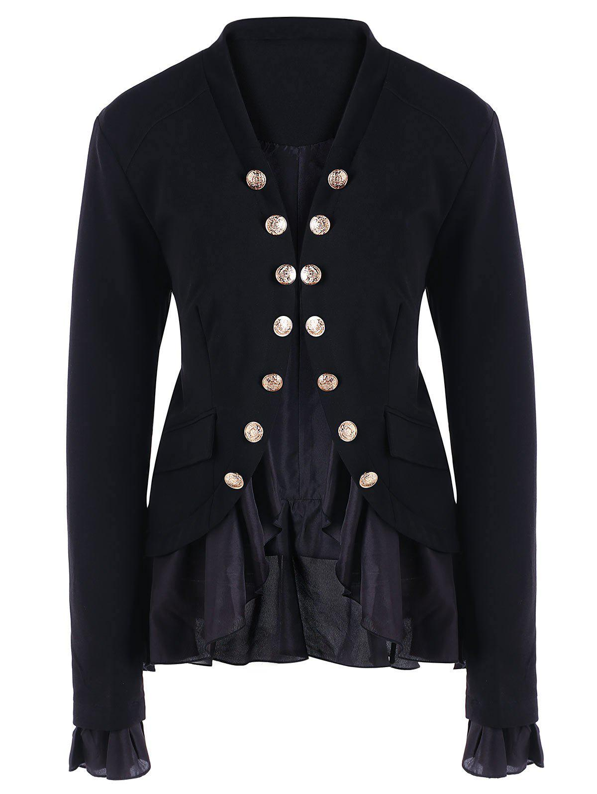 Discount Chiffon Trimmed Buttons Jacket