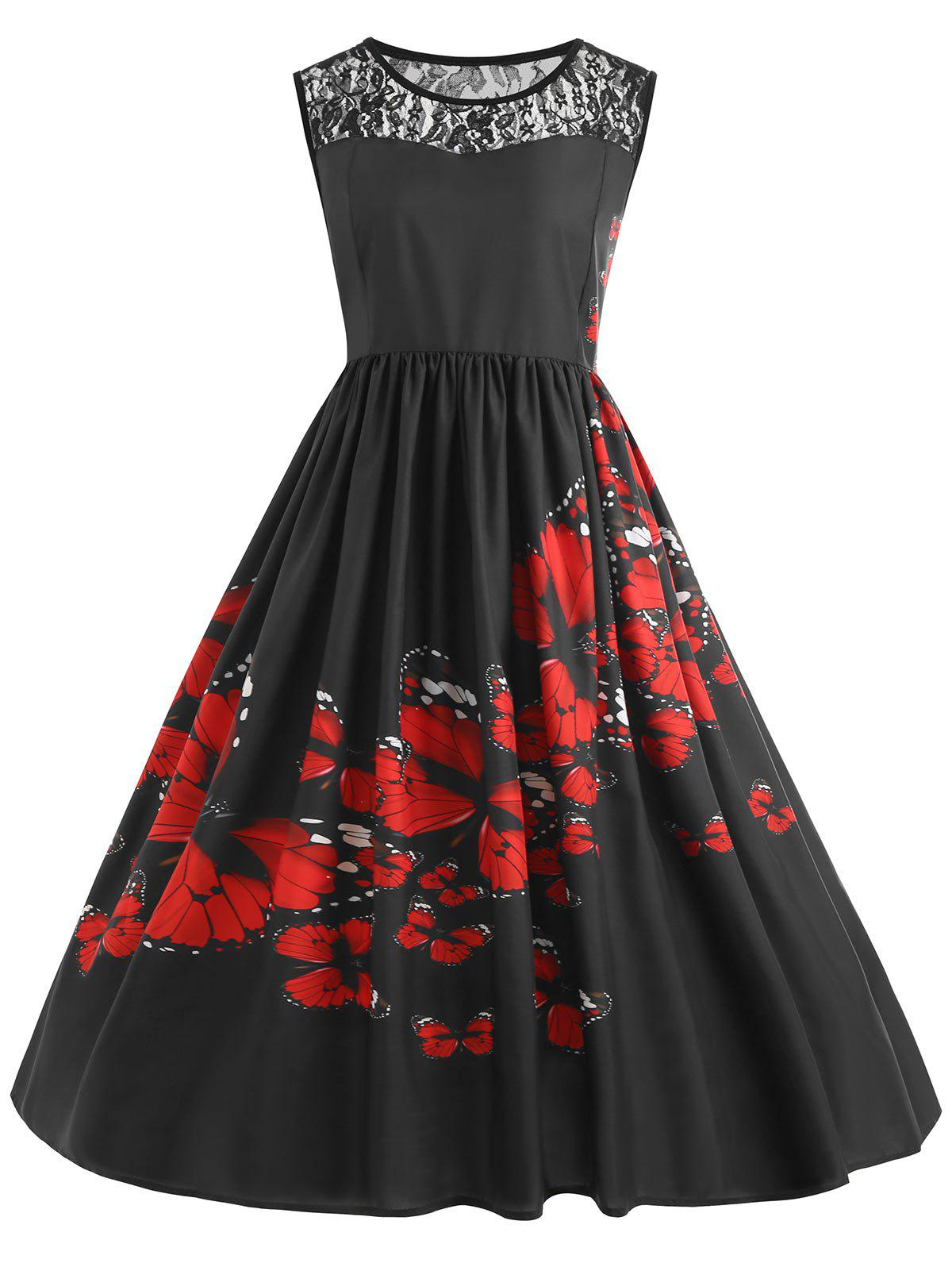 Fashion Lace Insert Plus Size Butterfly Print Midi 1950s Dress