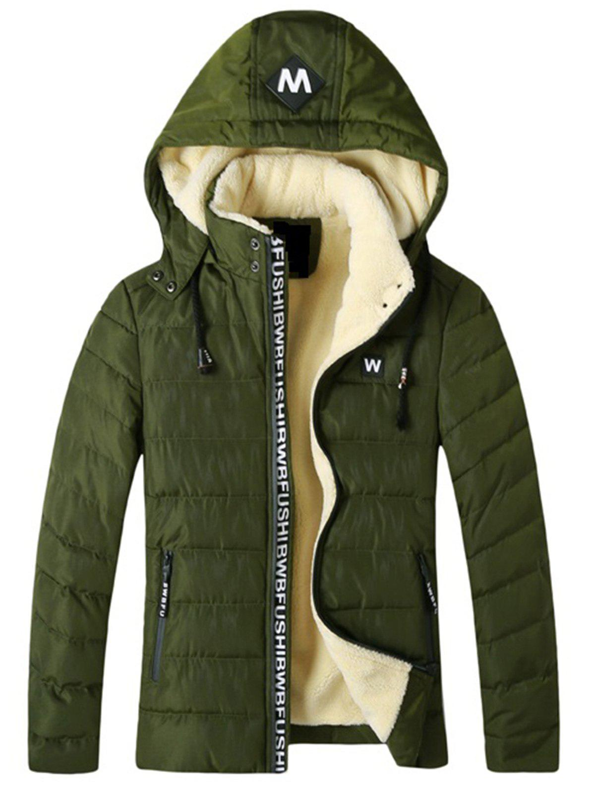 Store Detachable Hooded Fleece Padded Zip Up Jacket