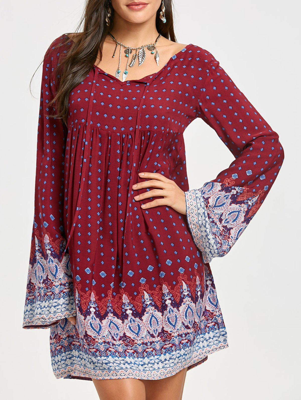Unique Tribal Print Bell Sleeve Mini Dress