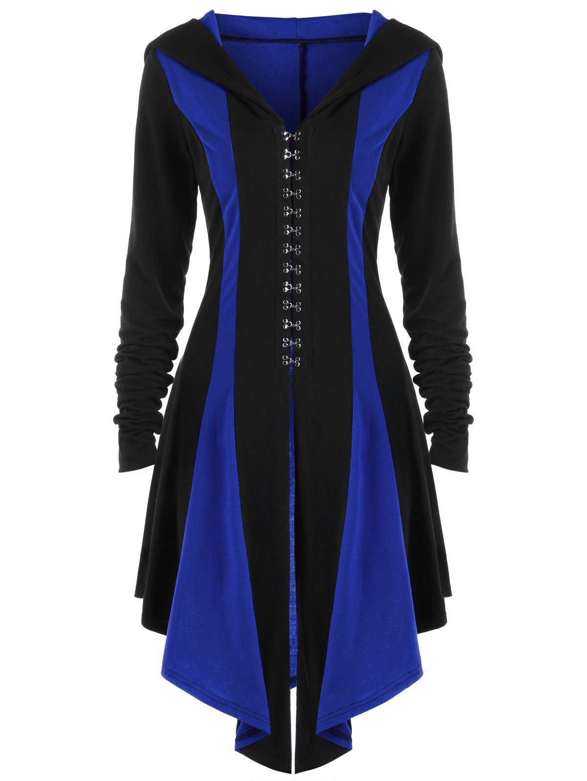 Fancy Hook Button Lace Up Hooded Coat