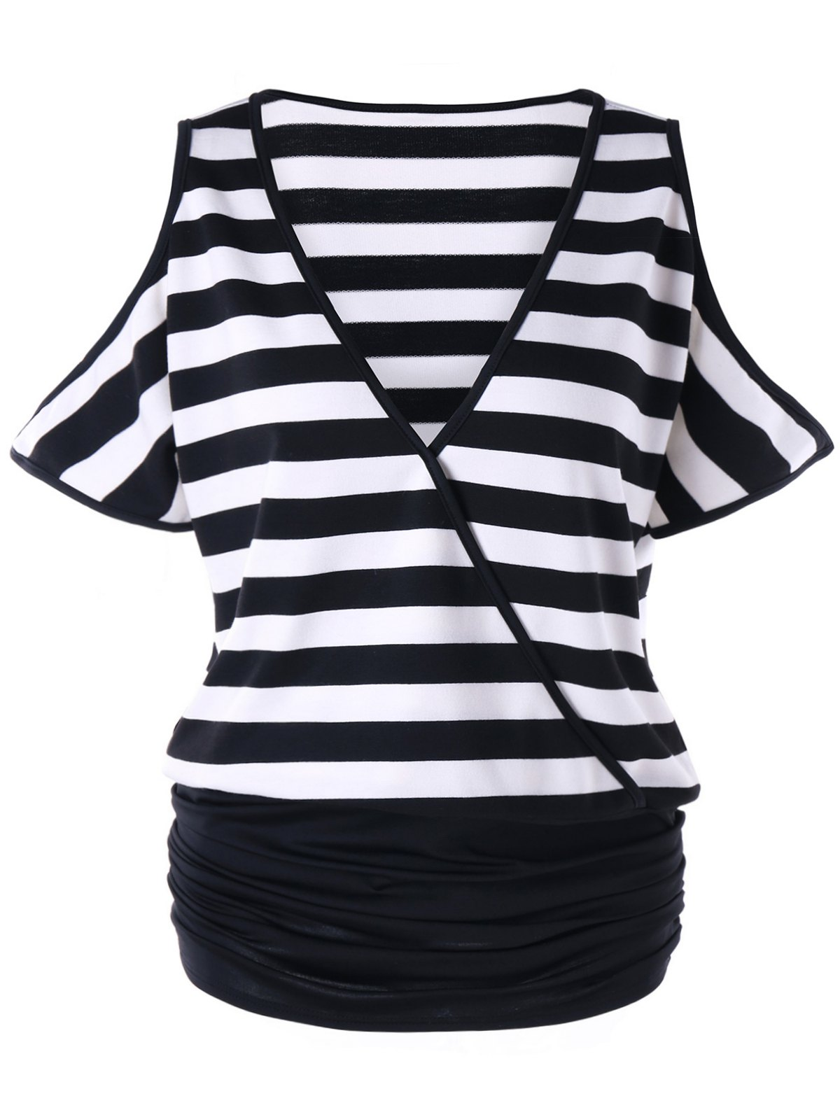 Store Plus Size Cold Shoulder Ruched Striped T-shirt