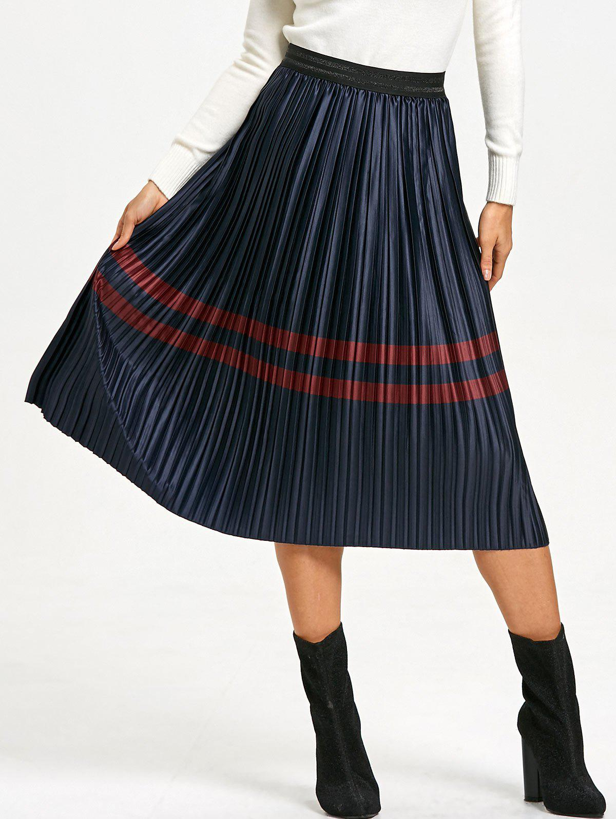 Shops Elastic Waist Striped Pleated Skirt