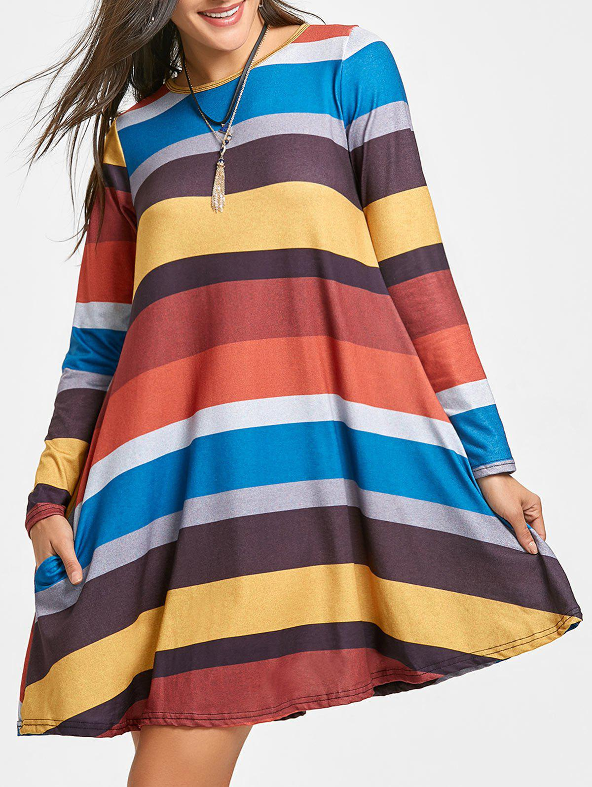 Buy Colored Stripes A-line Long Sleeve Dress
