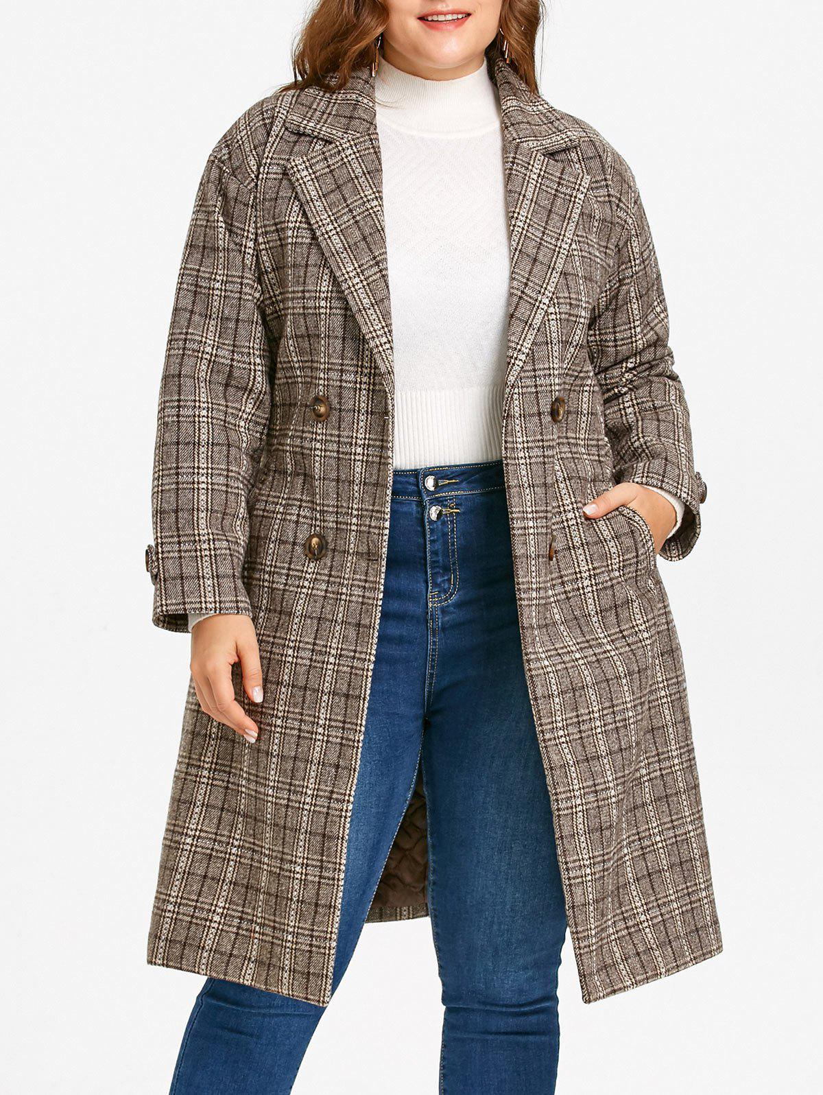 Discount Tweed Plaid Drop Shoulder Plus Size Coat
