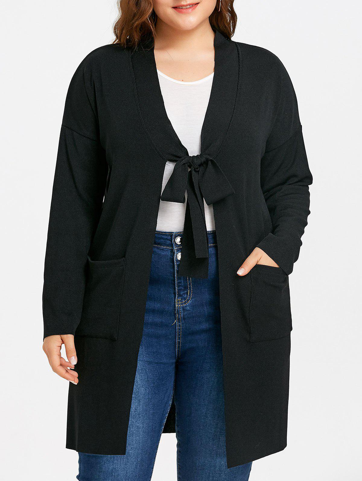Shops Side Slit Drop Shoulder Plus Size Knitted Coat