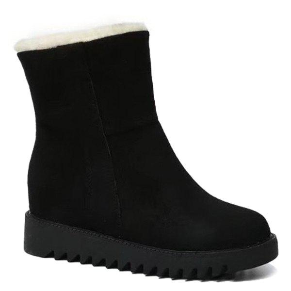 New Hidden Wedge Faux Fur Lining Ankle Boots