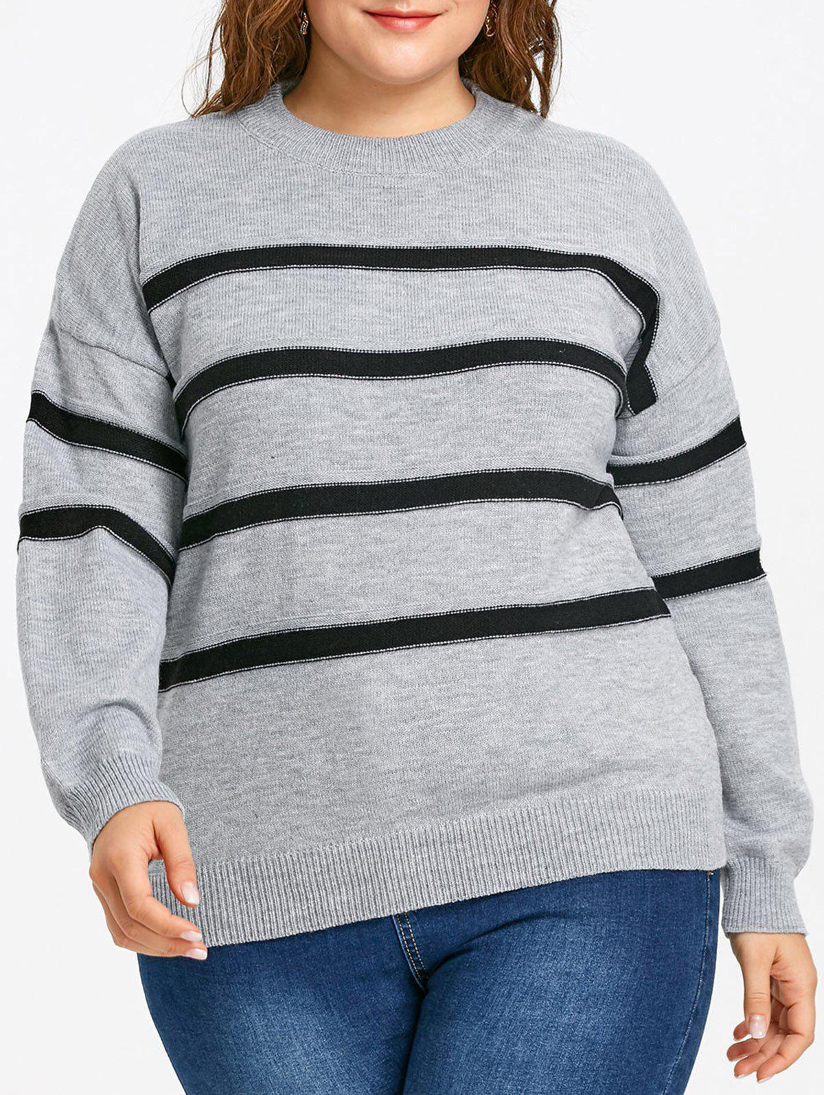 Chic Plus Size Drop Shoulder Striped Jumper Sweater