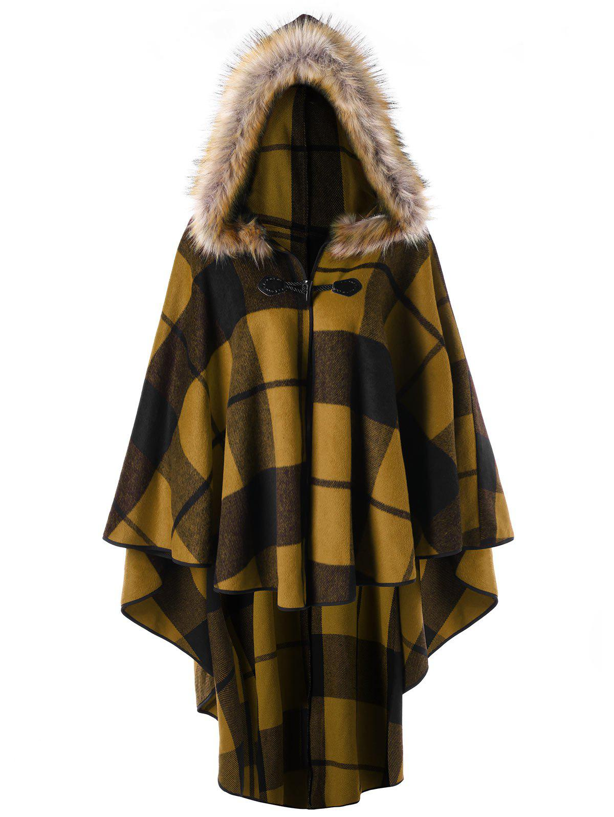 Store Plus Size High Low Plaid Hooded Cloak