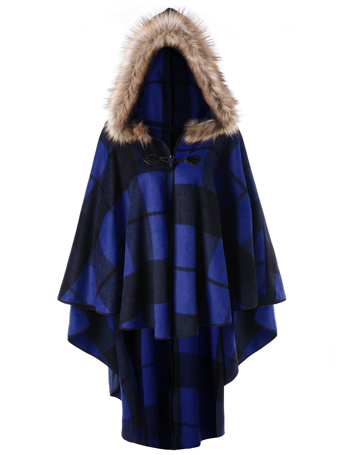Unique Plus Size High Low Plaid Hooded Cloak