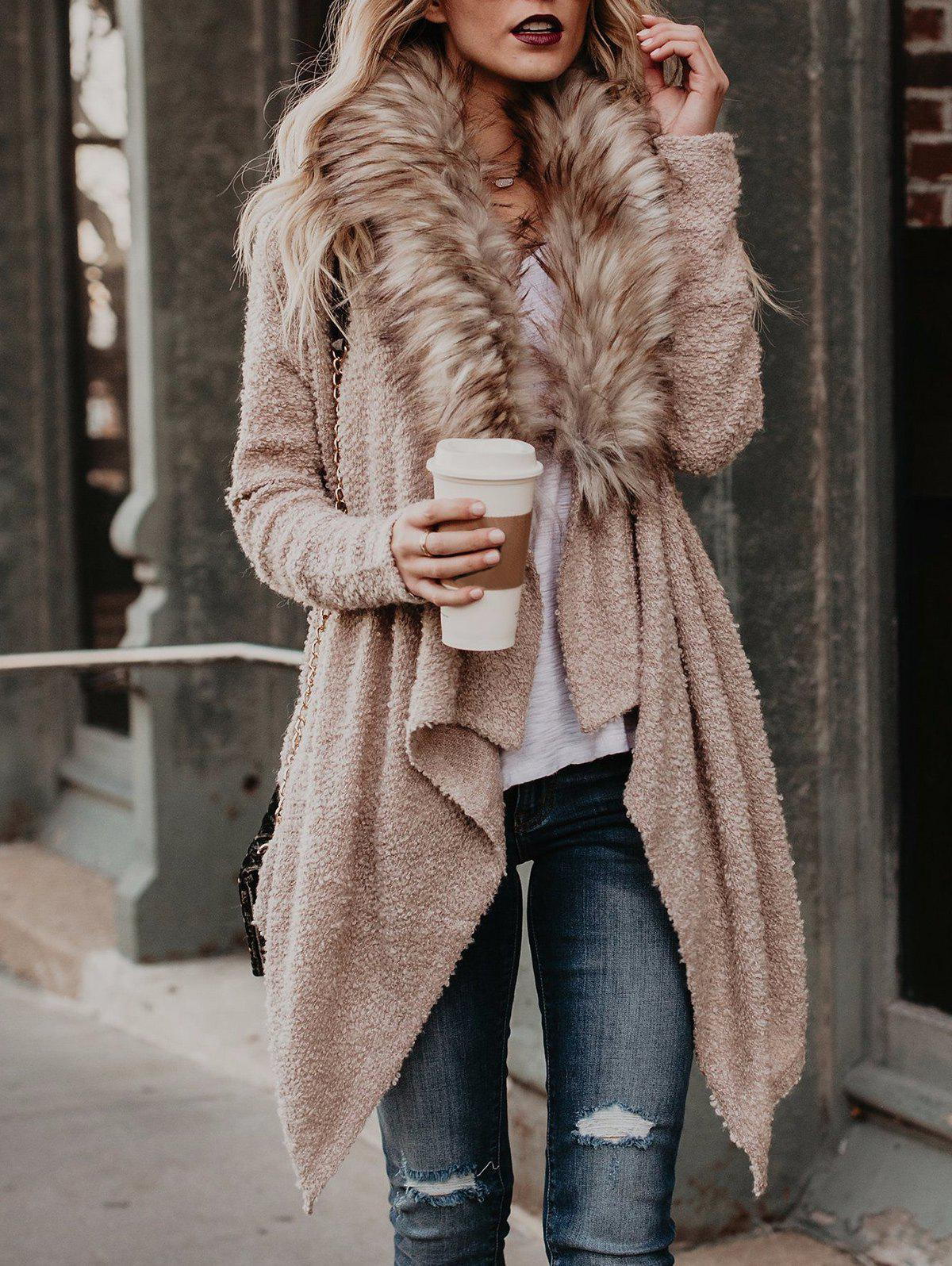Affordable Faux Fur Neck Asymmetrical Coat