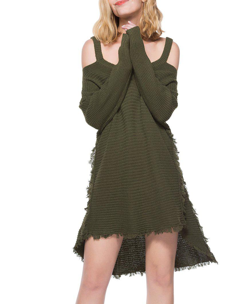 Cheap Tassel Embellished High Low Sweater Dress