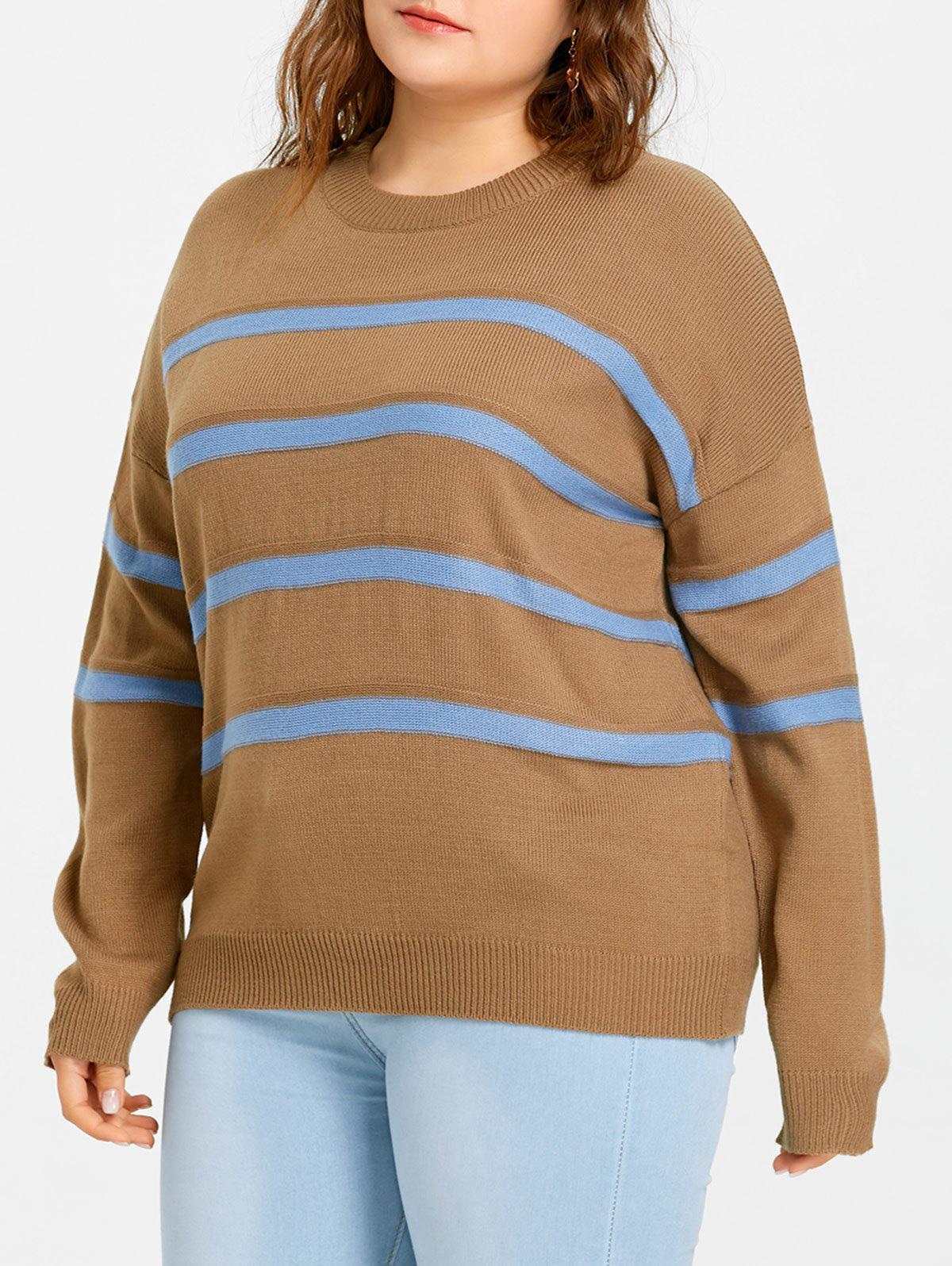 Store Plus Size Drop Shoulder Striped Jumper Sweater