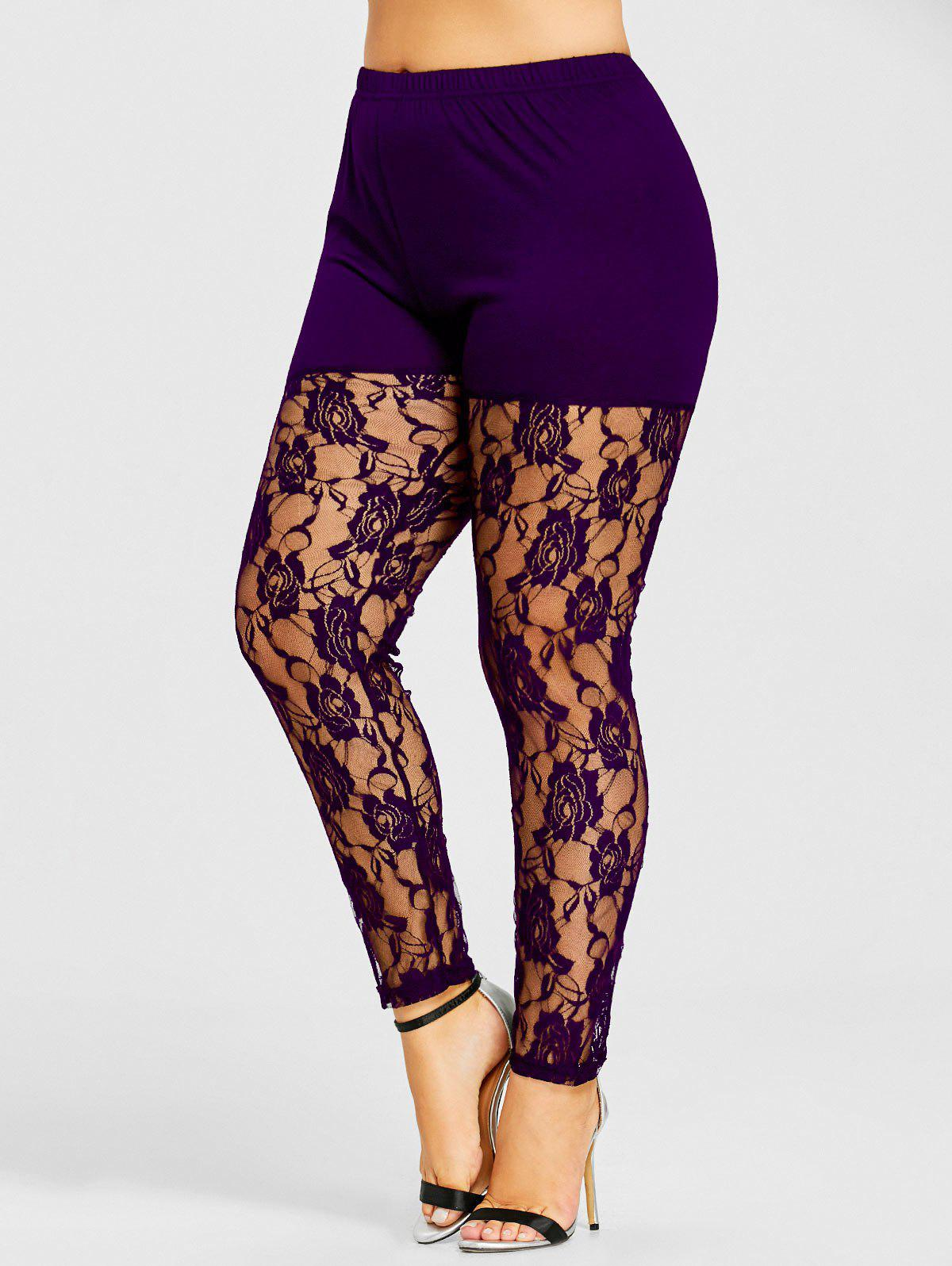 Chic Plus Size Sheer Lace Insert Leggings