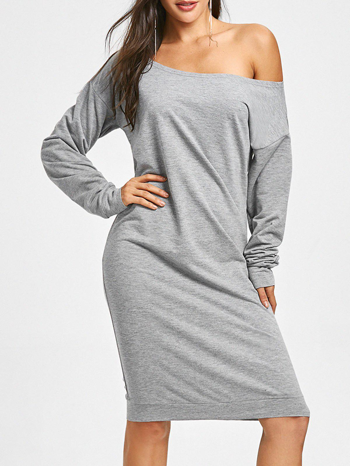 Buy Long Sleeve Skew Collar Sweatshirt Dress